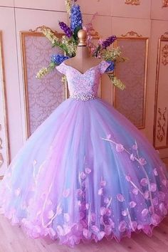 custom drsses Attractive Tulle Off-the-shoulder Neckline Ball Gown Evening Dresses With Lace Appliques & Handmade Flowers & Rhinestones · customdresskoko · Online Store Powered by Storenvy Lace Ball Gowns, Ball Gowns Evening, Ball Gowns Prom, Ball Dresses, 15 Dresses, Cute Dresses, Evening Dresses, Girls Dresses, Flower Girl Dresses