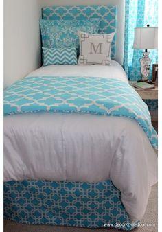 Bright Blue Designer Teen & Dorm Bed in a Bag...great site/design your own set