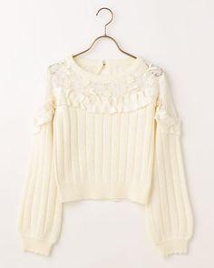 LIZ LISA Margaret Embroidery Frill Knit Tops Sweet Lolita Kawaii Japan #LizLisa #Tops #Shibuya109fashion