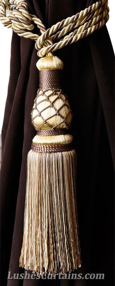 Luxury Gold with Brown Curtain Tassel Tie Backs.
