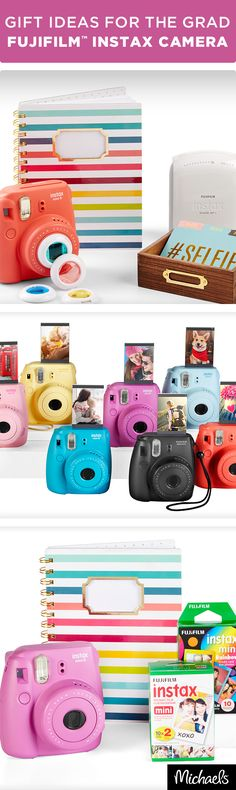 Capturing your graduation moments and having actual pictures has never been easier! Introducing the Fujifilm Instax family of products for all your photo needs. Whether it's needing to capture the moment with the Mini 8 Camera and film or printing out the pictures on your phone with the Smartphone Wireless Printer, you will always have a way to look back on these memories. Get these vibrant Mini 8 Cameras at your local Michaels.