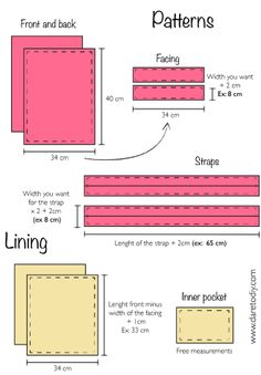 DIY Tutorial: How to make a tote bag Sewing Tutorials, Sewing Hacks, Sewing Projects, Purse Patterns, Tote Pattern, Fabric Bags, Handmade Bags, Diy Bags Purses, Diy Bags Totes