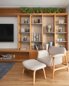 Living Room Built Ins, Living Room Tv, Home And Living, Home Library Rooms, House Rooms, Home Room Design, Living Room Designs, Bookshelves Built In, Apartment Interior