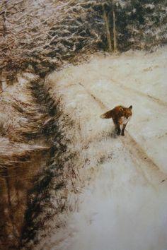 Marinus Harm 'Rien' Poortvliet 'Fox in the Snow' Wildlife Paintings, Wildlife Art, Animal Paintings, Landscape Paintings, Fox Drawing, Great Works Of Art, Fox Art, Art Hoe, Animal Totems