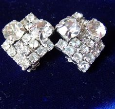 Rhinestone Art Deco Earrings - Vintage 1930s - Silver Sparkle Set