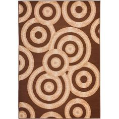 Miami Sunshine Circles Brown/Ivory 8 ft. 2 in. x 9 ft. 10 in. Contemporary Area Rug