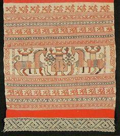 Полотенце. Начало XIX в. Фрагмент. .  Towel. Beginning of the XIX century. Fragment.