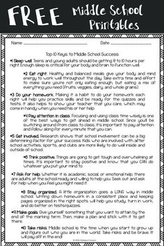 FREE Middle School worksheets. Perfect for kids heading to middle school or to use in advisory.
