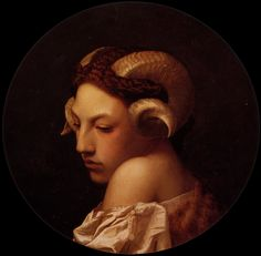 Jean-Léon Gérôme, Tête de femme coiffe de cornes de bélier étude, 1853.