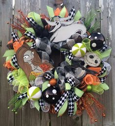 Halloween Wreath Halloween Mesh Wreath Nightmare by BaBamWreaths
