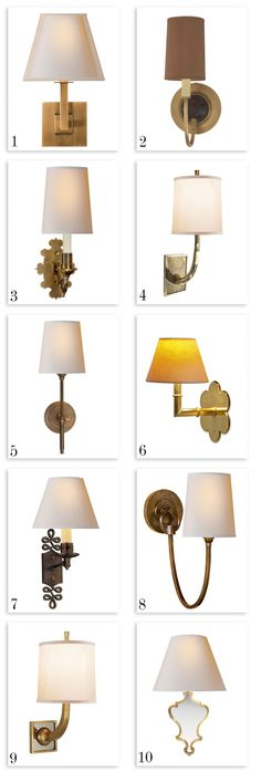 1. Architectural wall sconce ($189) 2. Elkins sconce ($252)  4. Barbara Barry lyric branch sconce ($587.90) 7. Alexa Hampton ginger single arm sconce ($251.90) 8. Thomas O'Brien Reed single sconce ($251.90) 9. Barbara Barry petal sconce ($398) 10. Madeline small sconce ($315)