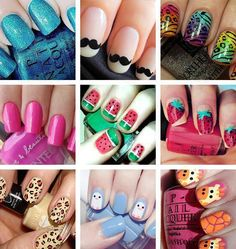 Crazy nail ideas ... I think a few of them are cute, especially the watermelon and strawberry ones!