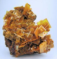 Wulfenite, mimetite San Francisco Mine, Cerro Prieto, Cucurpe, Sonora, Mexico 65 mm x 50 mm. Main wulfenite crystal: 14 mm on edge…