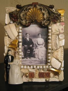 """I DO Mosaic 3.5"""" x 5"""" Picture Frame in Gold and White with Bride and Groom and Victorian Hardware Mosaic Art."""