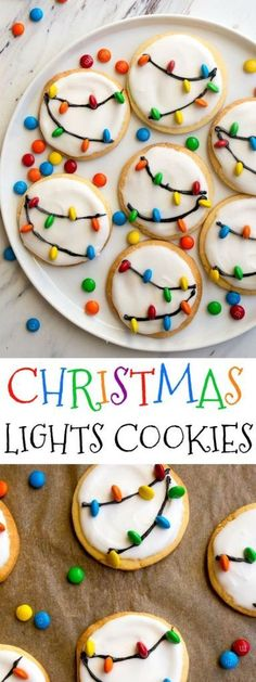 Christmas Lights Cookies for Santa! Easy royal icing recipe and mini M&Ms look l., Desserts, Christmas Lights Cookies for Santa! Easy royal icing recipe and mini M&Ms look like Christmas lights on cookies! Easy Christmas cookies to decorate wi. Holiday Treats, Holiday Recipes, Cute Christmas Desserts, Easy Christmas Cookie Recipes, Diy Christmas Snacks, Cozy Christmas, Xmas Food, Easy Holiday Cookies, Beautiful Christmas