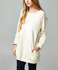 Look at this Ivory Oversize Sweatshirt on #zulily today!