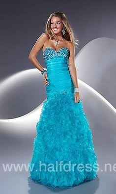 Floor Length Strapless Ruffled Dress
