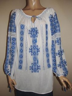 Hand embroidered peasant blouse handmade ethnic by RealRomania