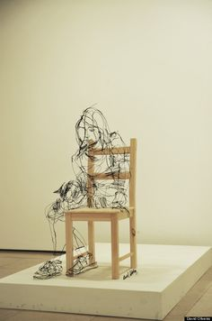woman on chair... David Oliveira's Pictures With Wire. I'd love to see this in real life, or even maybe to see a video with the cameraman walking around one of these wire 3d drawings. #DavidOliveira