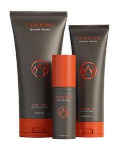 TENZING's Adventure Pack (available in Sage Mint and Sandalwood) 1. The Pre-Shave Oil - A combination of rich oils (acai, olive, and grape seed oils) to create pre-shave perfection. 2. The Premium Shave Cream organically formulated with an aloe base, that strengthens & hydrates skin while supplying a smooth, comfortable shave.  3. The Face Moisturizer organically crafted moisturizer fights early signs of aging, tones skin with aloe and grape seed oil. $55