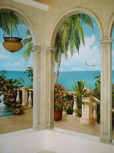 TROMPE L'OEIL.window mural with arches by Tim Haas.