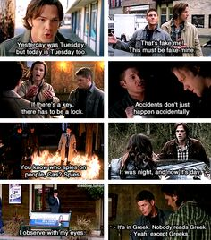 "Winchester Logic (Set of Gifs) LOLOL ""NO WONDER THEY KEEP DYING"" God, I love this."