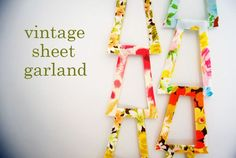 I love the geometric shape of this simple garland! DIY vintage sheet garland by Wise Craft Handmade