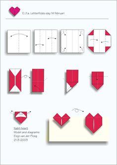 DIY: easy origami heart by valerie Diy Origami, Easy Origami Heart, Origami Paper, Diy Paper, Paper Art, Paper Crafts, Simple Origami, Kirigami, Fun Crafts