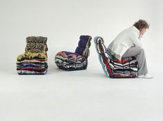 his chair is layered from the contents of 15 bags of rags. It arrives ready made but the user has the option to recycle its own discarded clothes to be included in the design. Each piece is unique; a treasure-chest of memories.