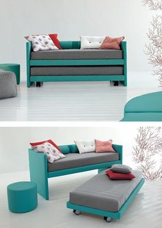 Browse to shop best trundle bed IKEA to add your room elegance and comfort! Trundle bed IKEA can be found to meet any taste, need and budget Space Saving Furniture, Home Furniture, Furniture Design, Pallet Furniture, Furniture Ideas, Kids Single Beds, Dressing Design, Diy Casa, Murphy Bed Plans