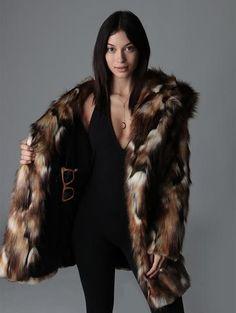 Brown Rabbit Faux Fur Coat SpiritHood