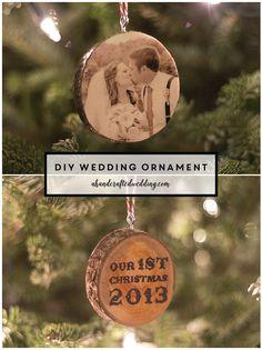 DIY Wedding Christmas Ornament on Wood Slice | ahandcraftedwedding.com