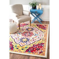 nuLOOM Vibrant Floral Centerpiece Multi Rug (9' x 12') | Overstock.com Shopping - The Best Deals on 7x9 - 10x14 Rugs
