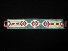 Greens Ivory Maroon Peyote Cuff Bracelet by glassnthreads on Etsy