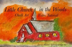 This little church in the woods is surrounded by beautiful trees bursting with October orange. There is a little path or driveway leading up to the church and the sky is brilliant blue. In this video tutorial, Nana shares how to draw the church in chalk pastels, step by step.