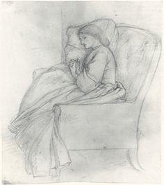 Dante Gabriel Rossetti, drawing of Elizabeth Siddal (reproduction)