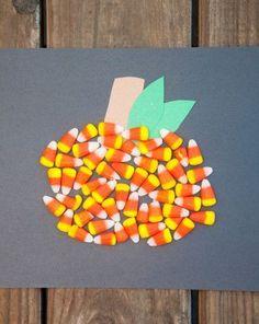 Activities: Candy Corn Pumpkin-good use for candy corn! Great fall craft for kindergarten and preschool