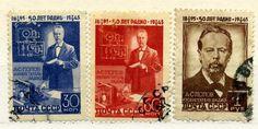"""марки СССР 1945 год """"50 лет изобретения радио Поповым"""""""