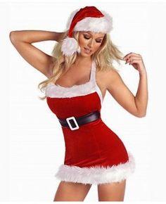 Fluffy Hem Red Mini Sheath Dress Christmas Costume #christmas #costumes