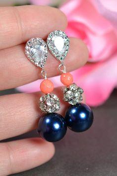 navy blue coral Wedding Jewelry Bridesmaid by thefabbridaljewelry, $29.99