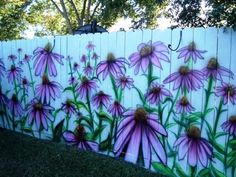 painted garden fence Two Women and a Hoe....I would love to do this on my garden shed.