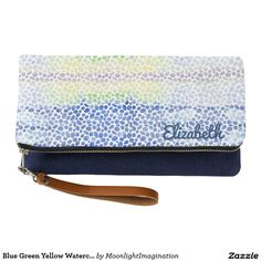 Blue Green Yellow Watercolor Dots Pattern women's clutch Can be personalized no extra cost