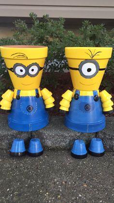 MINION Pot Person Minion Girl or Minion Boy by GARDENFRIENDSNJ