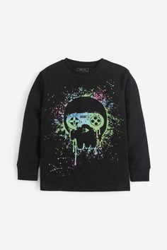 Next Uk, Uk Online, Graphic Sweatshirt, T Shirt, Skull, Black And White, Sweatshirts, Cotton, Shopping