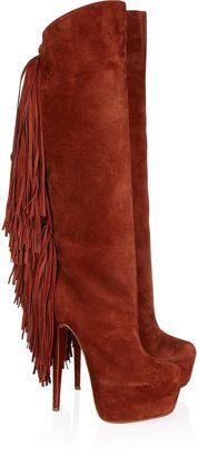 ShopStyle: Christian Louboutin Interlopa 165 fringed suede knee boots