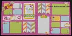 Two Page Scrapbook Layout Penelope Workshop Spring happy Fun Girl Easter…