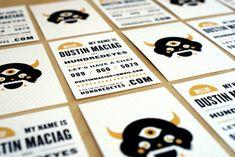 HUNDREDEYES, business card, graphic design, visual identity, patterns, vintage, retro, illustration