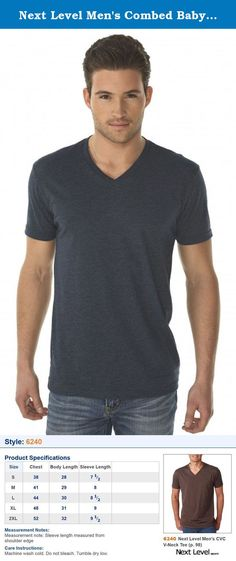 Next Level Men's Combed Baby Rib Knit V-Neck T-Shirt, Midnight Navy, XX-Large. 4.3 oz, 60% combed ring-spun cotton/40% polyester jersey 32 singles Fabric laundered Set-in 1x1 CVC baby rib collar Tear Away label Sizes: S - 2X .