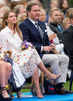 Princess Madeleine of Sweden and Christopher O'Neill attend a concert at the 39th birthday celebrations for Crown Princess Victoria on July 14 2016...