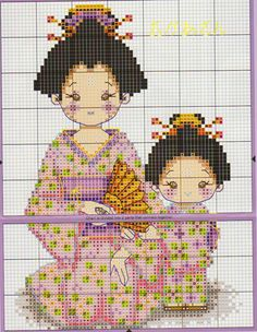 Japanese Lady and Daughter Cross Stitch